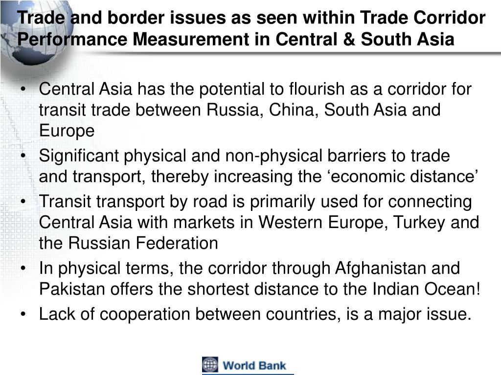 Trade and border issues as seen within Trade Corridor Performance Measurement in Central & South Asia
