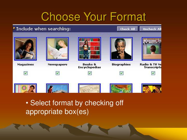 Choose Your Format