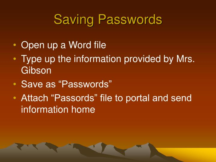 Saving Passwords