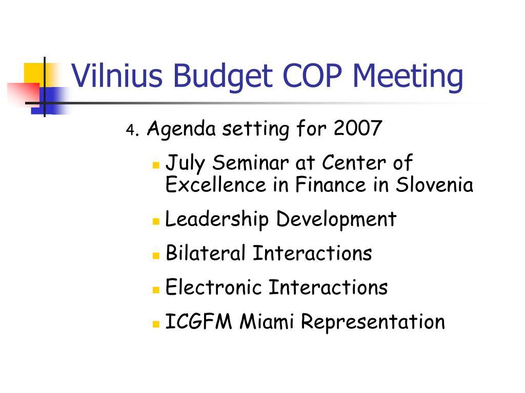Vilnius Budget COP Meeting