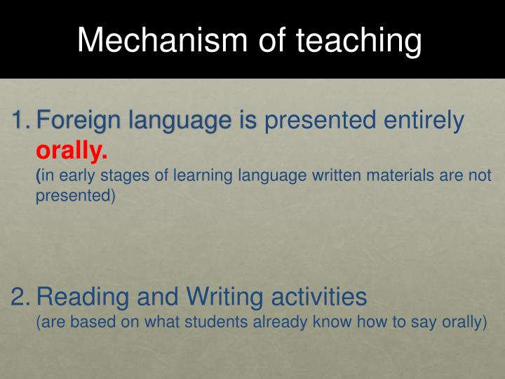 Mechanism of teaching