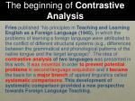 the beginning of contrastive analysis