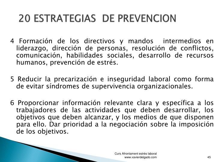 20 ESTRATEGIAS  DE PREVENCION