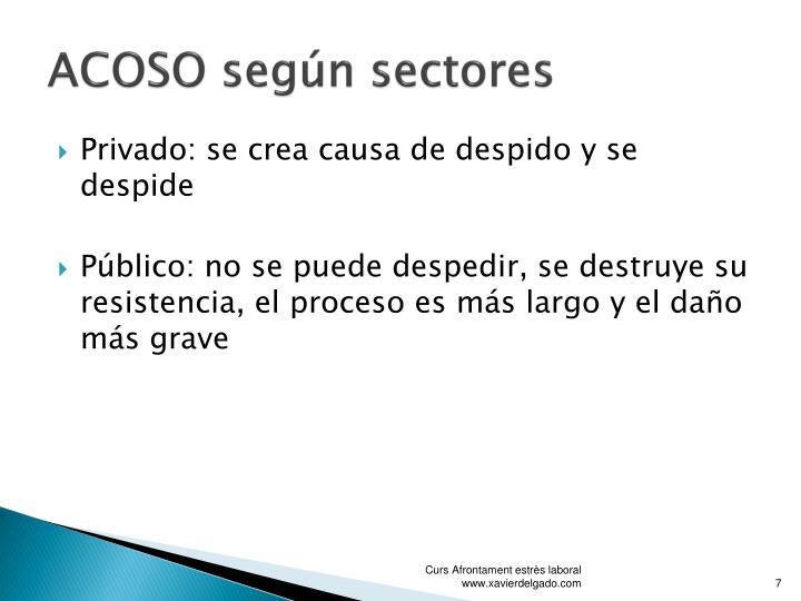 ACOSO según sectores