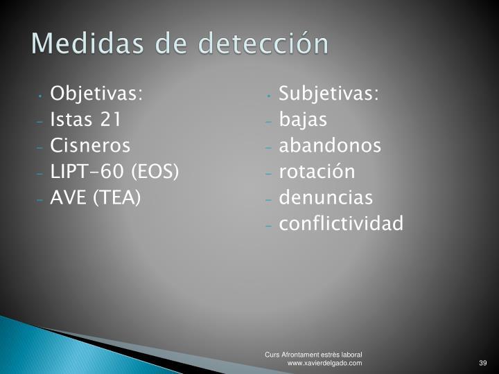 Medidas de detección