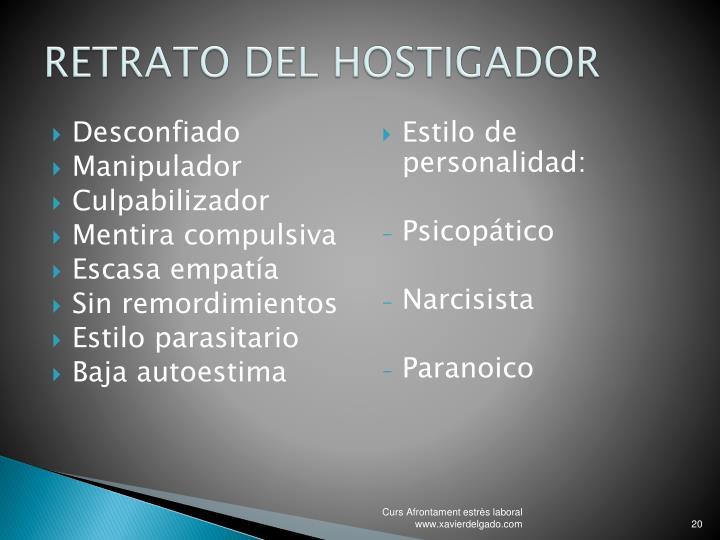 RETRATO DEL HOSTIGADOR