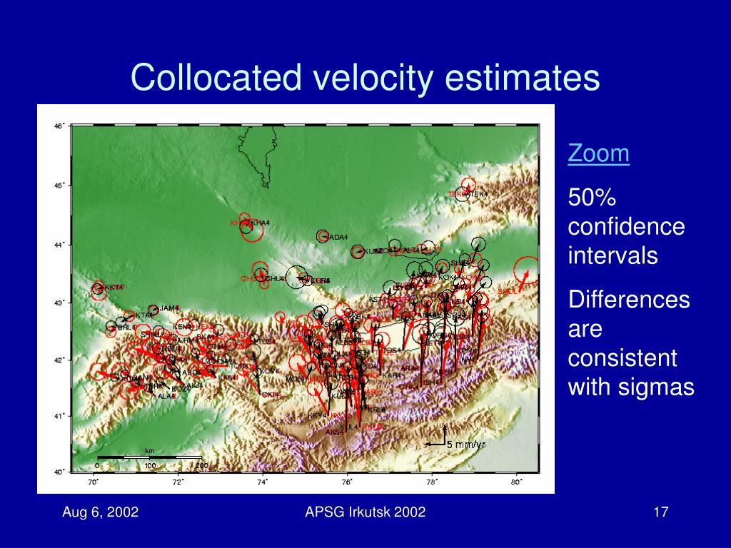 Collocated velocity estimates