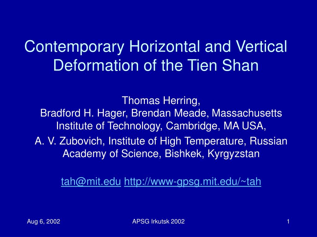 Contemporary Horizontal and Vertical Deformation of the Tien Shan