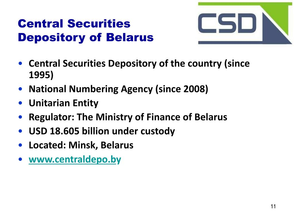 Central Securities Depository of the country (since 1995)