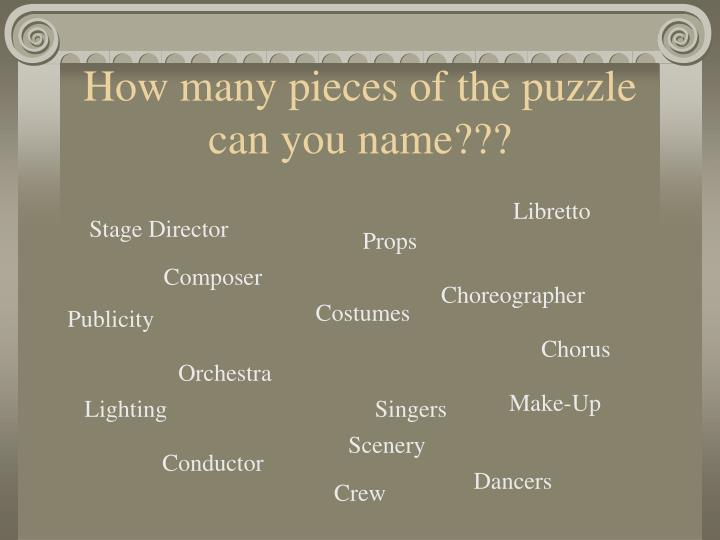 How many pieces of the puzzle can you name???