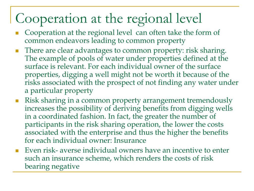 Cooperation at the regional level