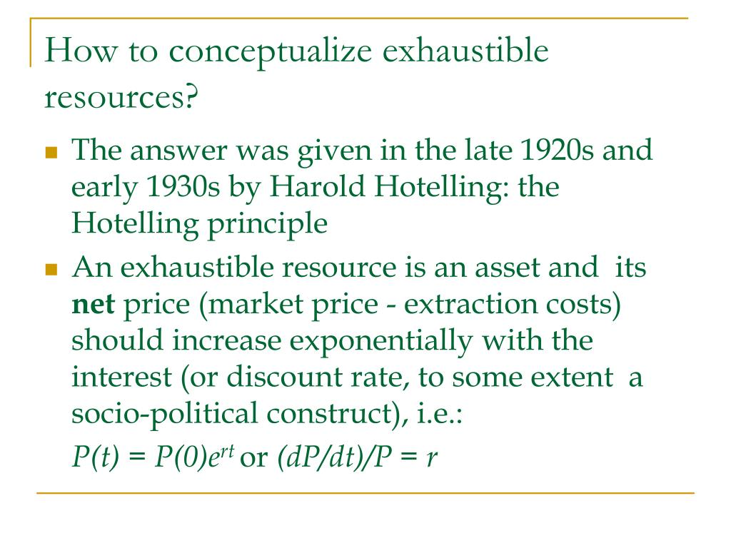 How to conceptualize exhaustible resources?