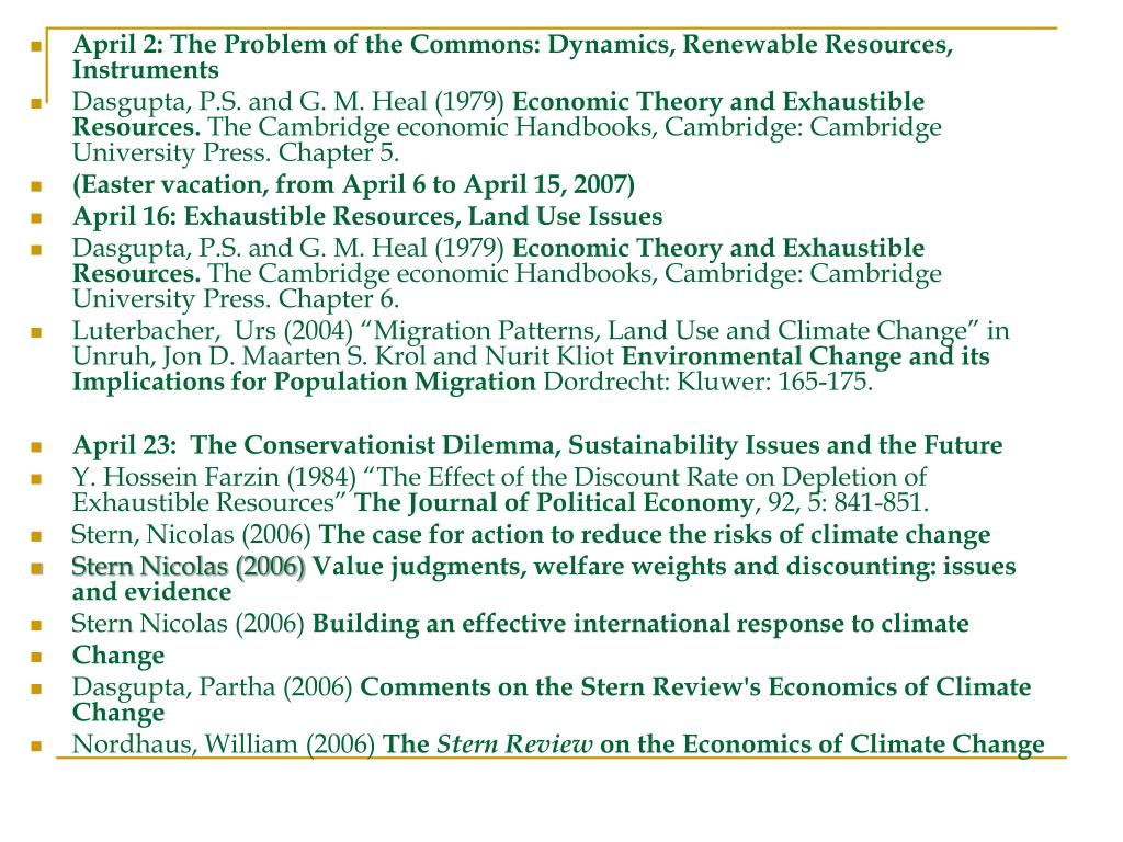 April 2: The Problem of the Commons: Dynamics, Renewable Resources, Instruments