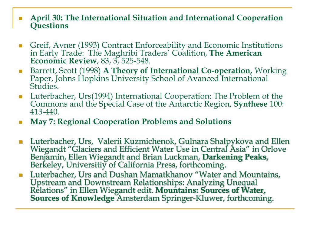 April 30: The International Situation and International Cooperation Questions