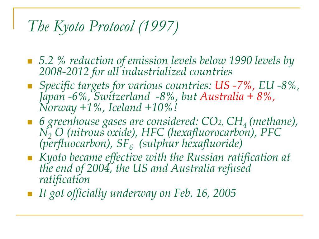 The Kyoto Protocol (1997)