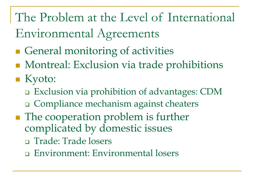 The Problem at the Level of International Environmental Agreements