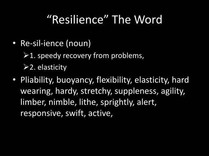 """Resilience"" The Word"