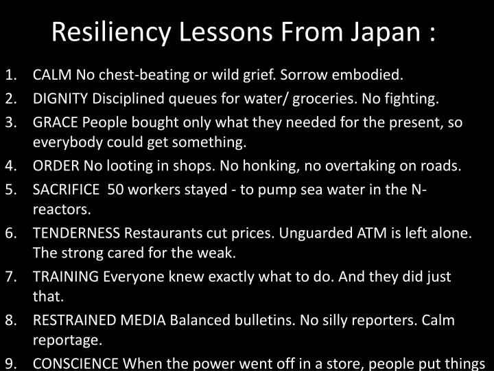 Resiliency Lessons From Japan :