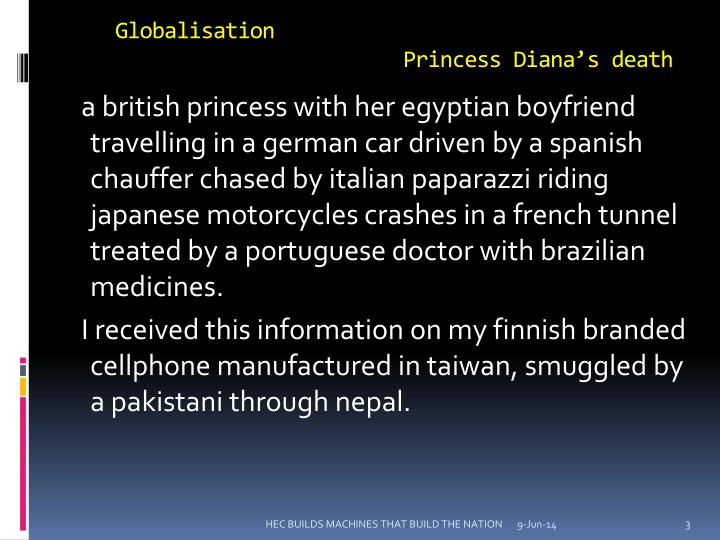 Globalisation princess diana s death