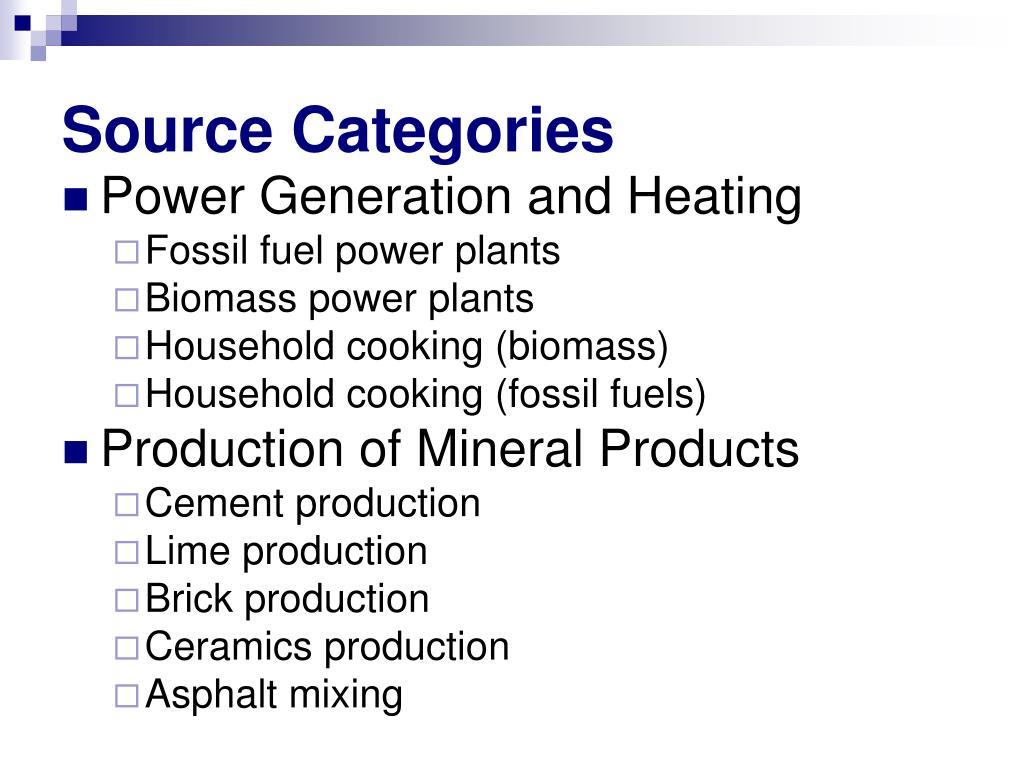 Source Categories