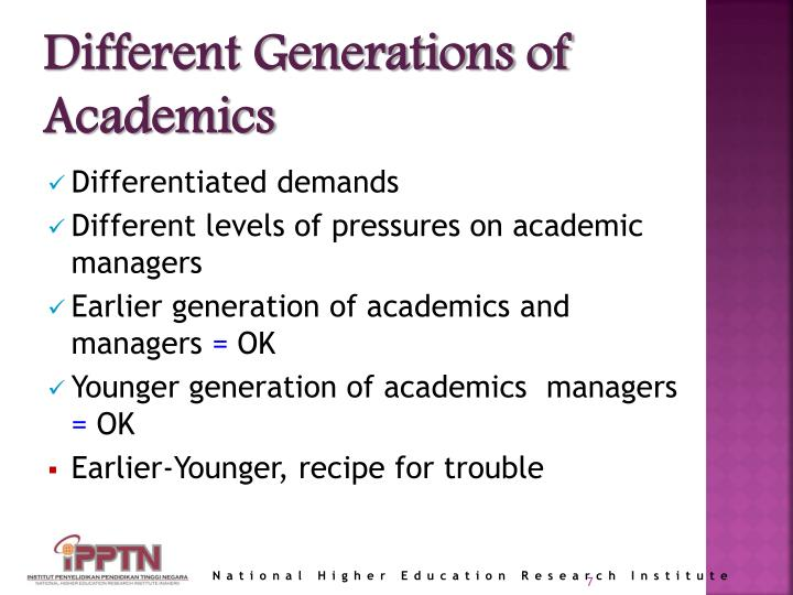Different Generations of Academics