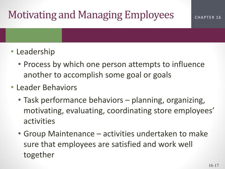 Motivating and Managing Employees