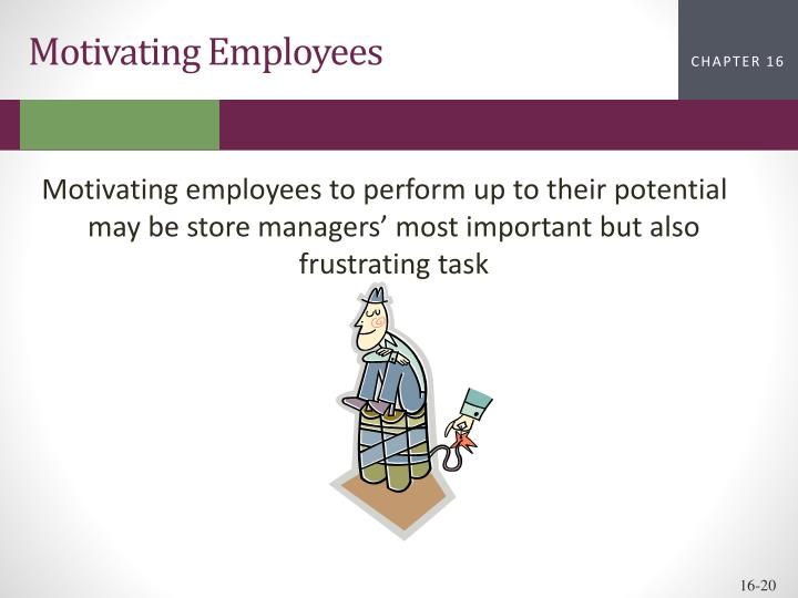 Motivating employees to perform up to their potential may be store managers' most important but also frustrating task