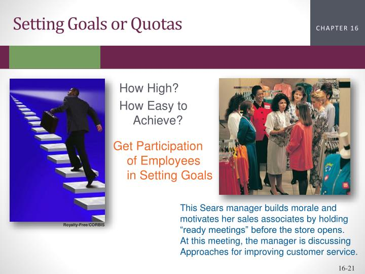 Setting Goals or Quotas