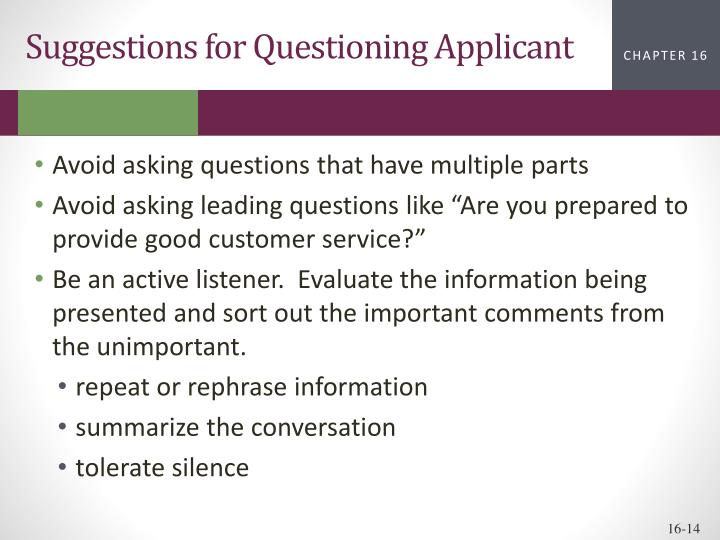 Suggestions for Questioning Applicant