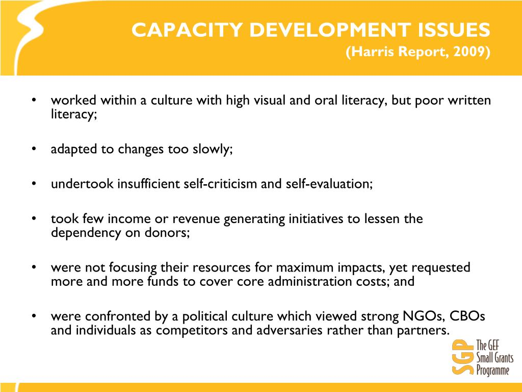 CAPACITY DEVELOPMENT ISSUES