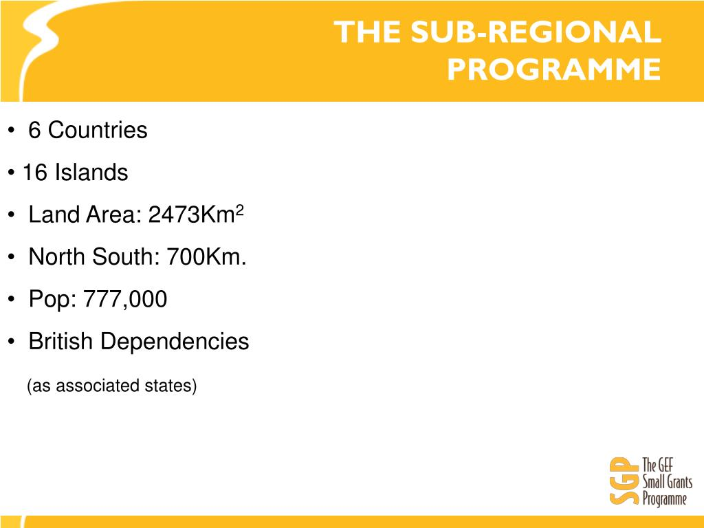 THE SUB-REGIONAL PROGRAMME