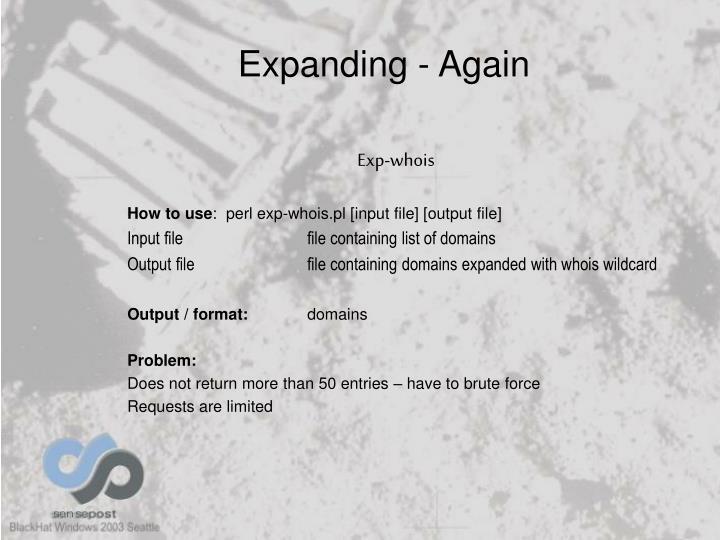 Expanding - Again