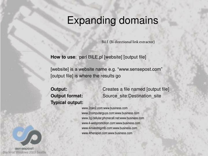 Expanding domains