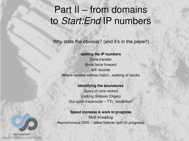 Part II – from domains