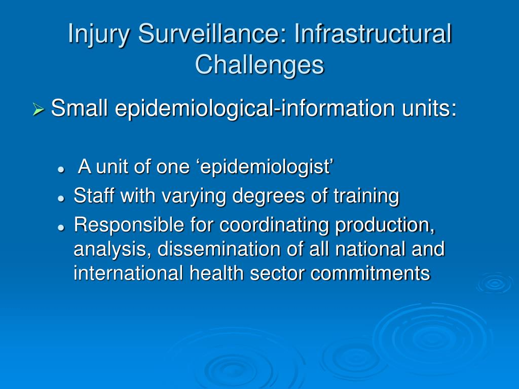 Injury Surveillance: Infrastructural Challenges