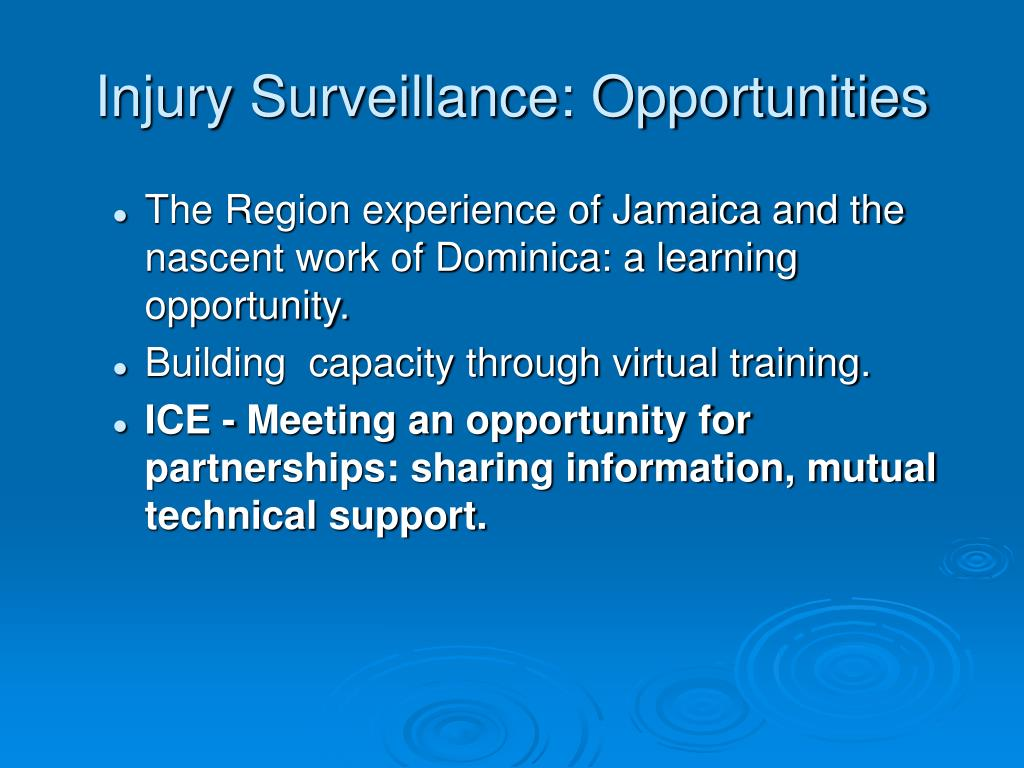 Injury Surveillance: Opportunities