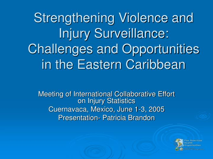 Strengthening Violence and Injury Surveillance: Challenges and Opportunities in the Eastern Caribbea...