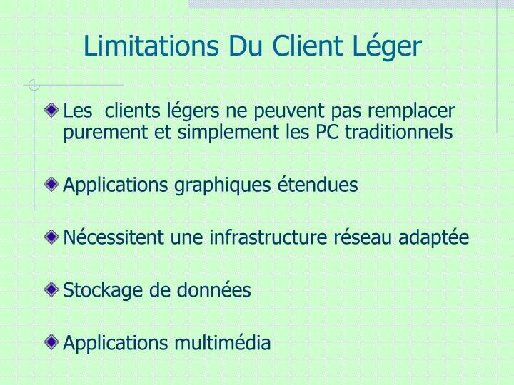 Limitations Du Client Léger