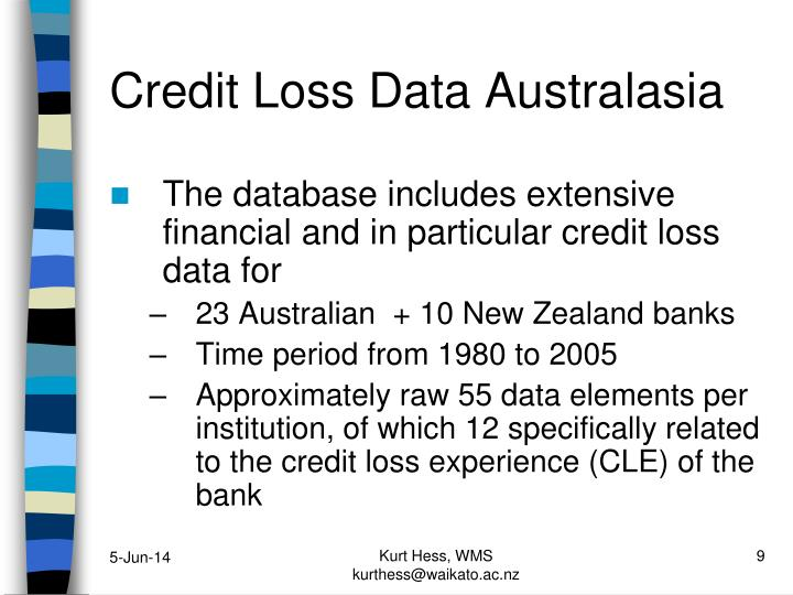 Credit Loss Data Australasia