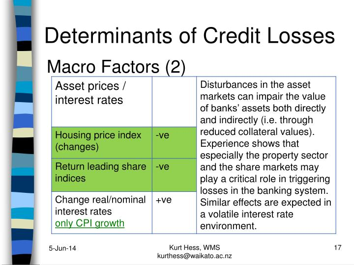 Determinants of Credit Losses
