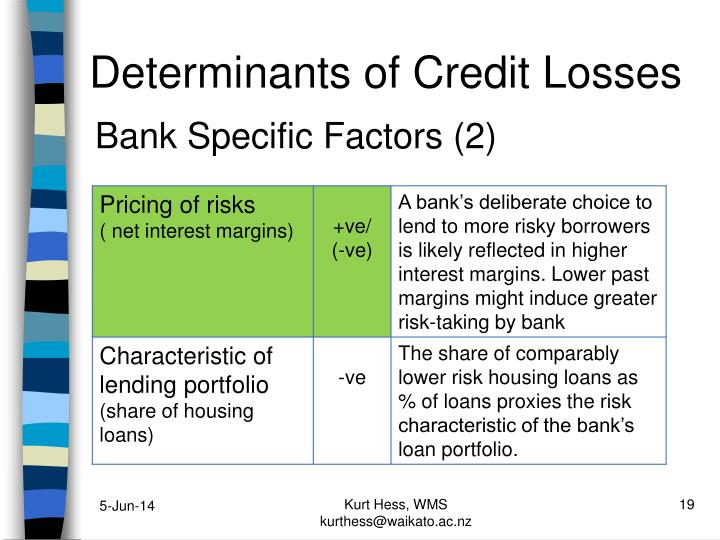 Determinants of Credit Losses