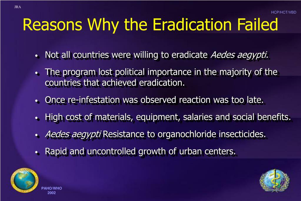 Reasons Why the Eradication Failed