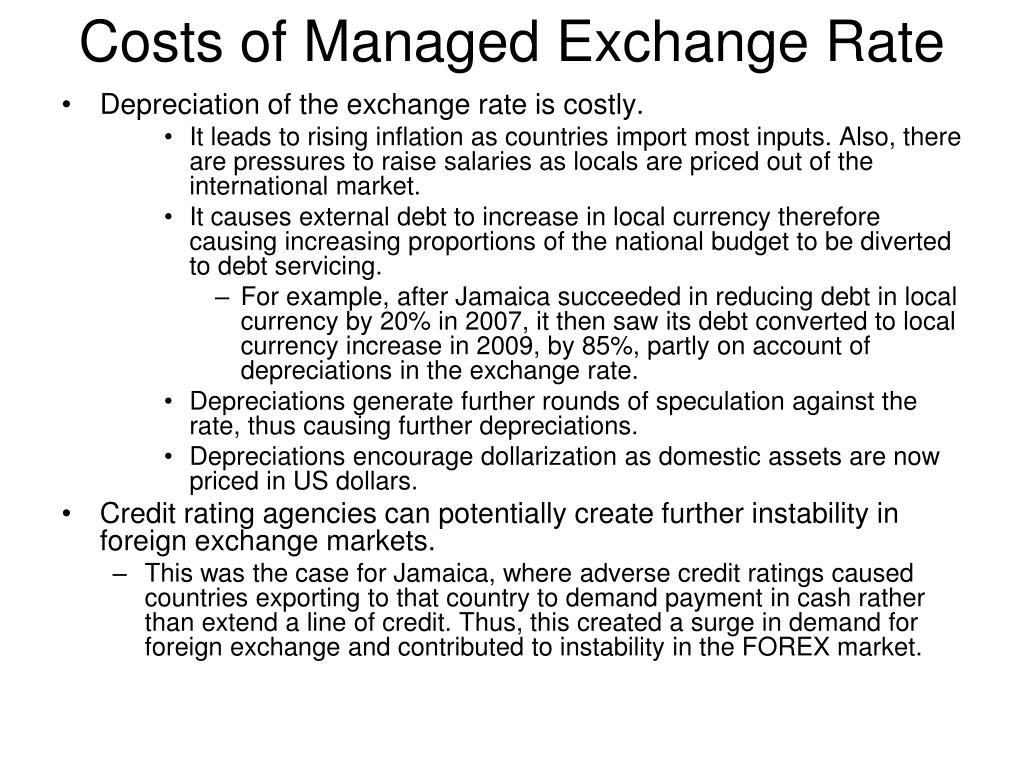 Costs of Managed Exchange Rate