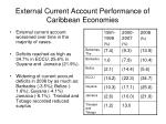 external current account performance of caribbean economies