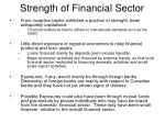 strength of financial sector
