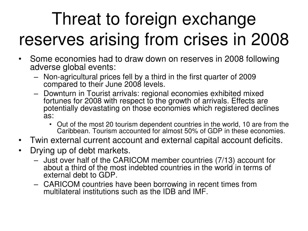 Threat to foreign exchange reserves arising from crises in 2008