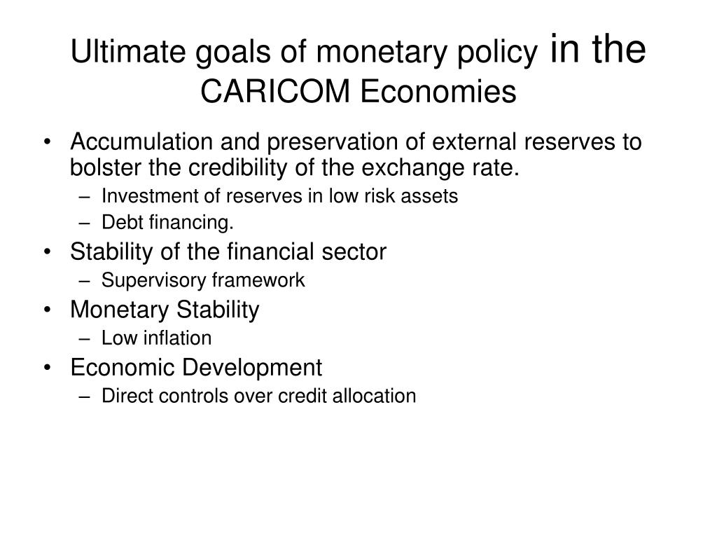 Ultimate goals of monetary policy
