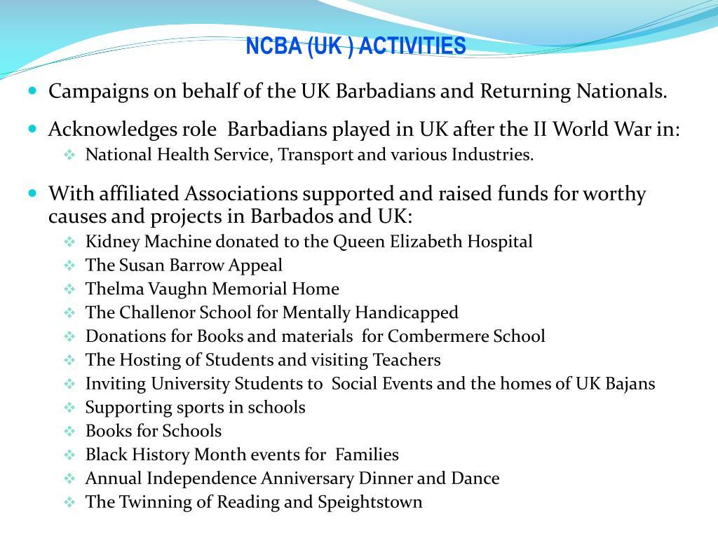 NCBA (UK ) ACTIVITIES
