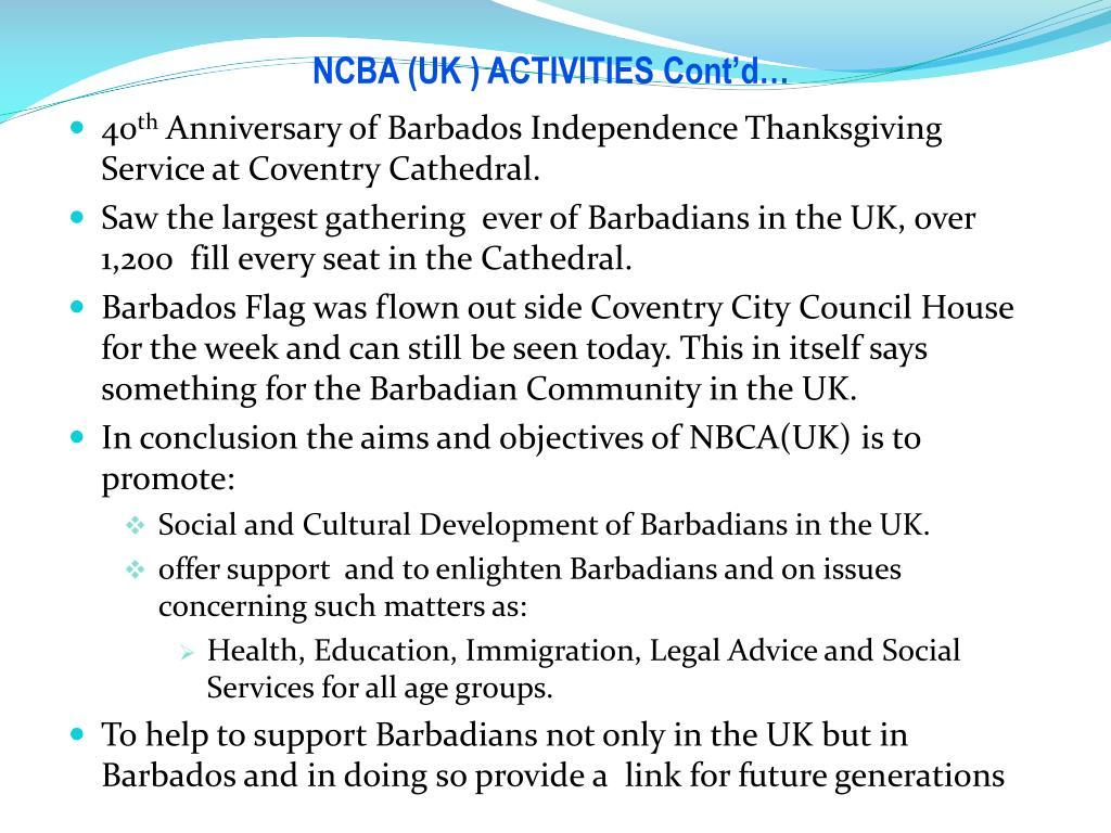 NCBA (UK ) ACTIVITIES Cont'd…