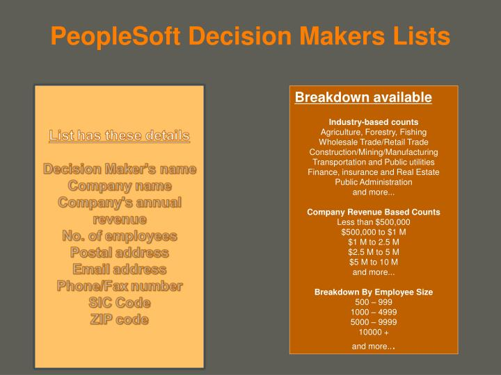 PeopleSoft Decision Makers Lists